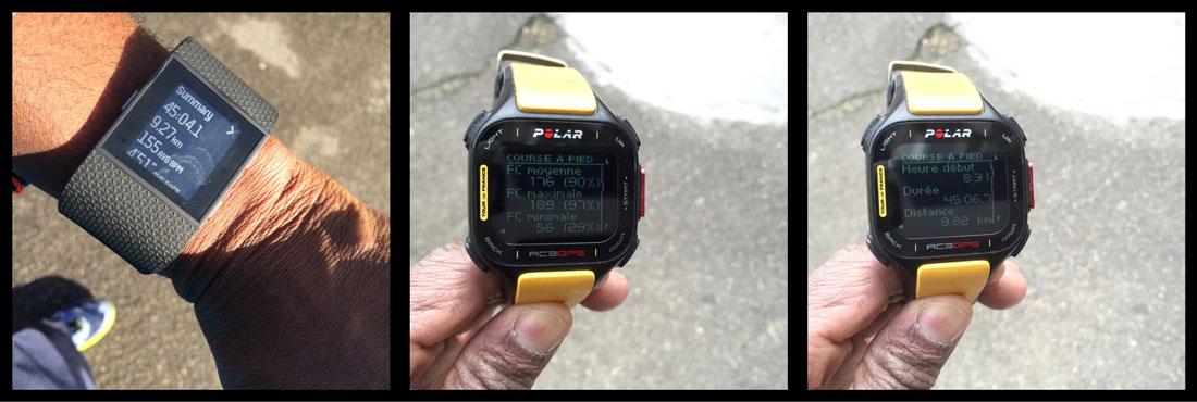 La montre de sport Fitbit Surge : fréquences cardiaques comparées. Ph. Moctar KANE.