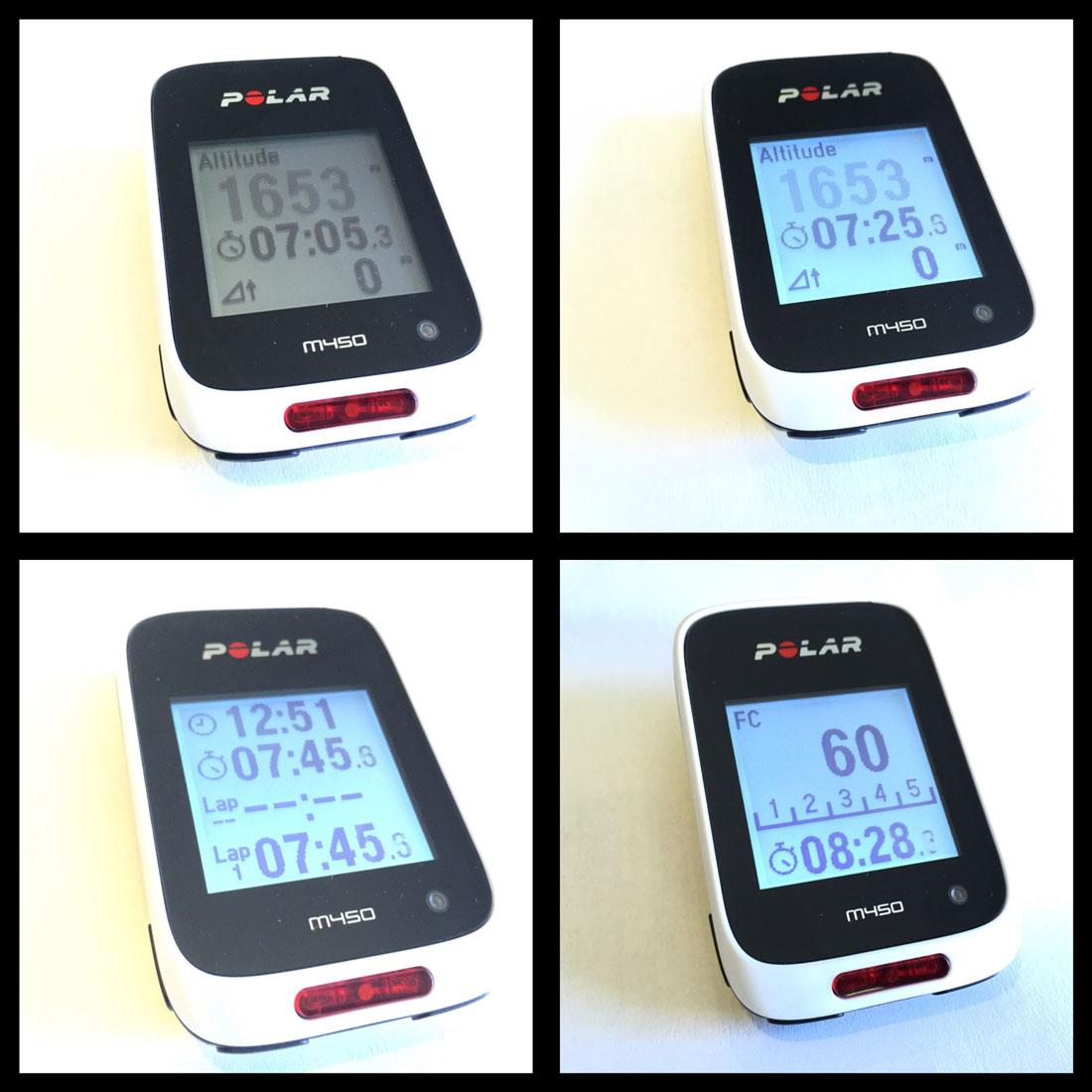 Les différents écrans du GPS vélo et cardio Polar M450, 06 2015, Ph. Moctar KANE.