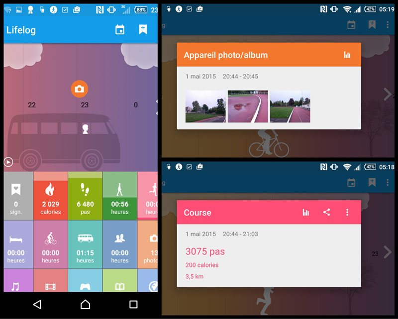 L'appli de tracking Lifelog du smartphone Sony Xperia Z3.
