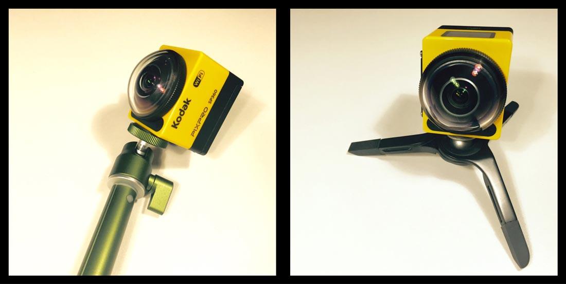 L'action cam Kodak Pixpro SP360 fixée sur une perche et un trépied, 2014, Ph. Moctar KANE.