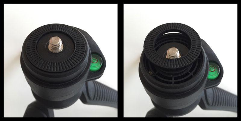 Le trépied compact Rollei Tischstativ SY-310 avec cette rondelle mal collée, Ph. Moctar KANE.