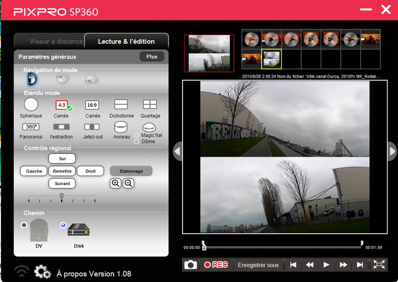 Le logiciel de montage de l'action cam Kodak Pixpro SP360 (version sans support Youtube).