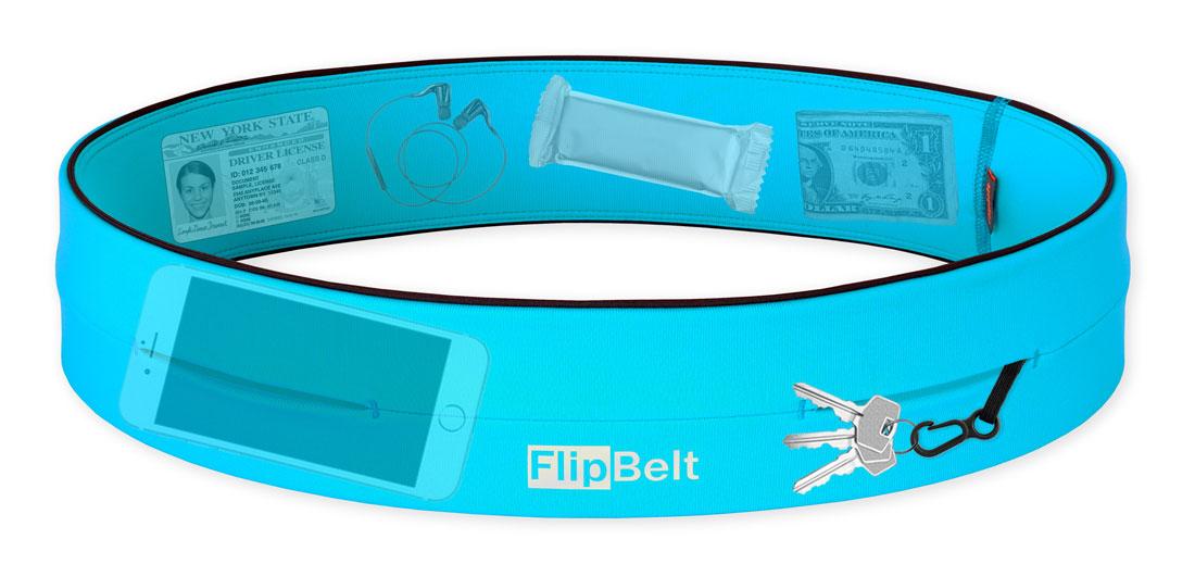 Contenu pouvant être transporté par la ceinture de running FlipBelt.