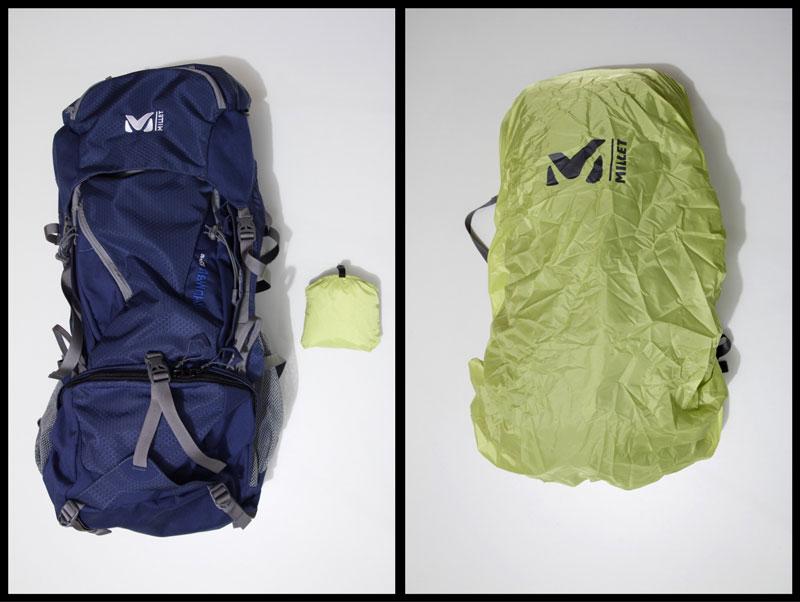 Le sac à dos de randonnée Millet Khumbu 55+10 et sa housse anti-intempéries, 2015, Ph. Moctar KANE.