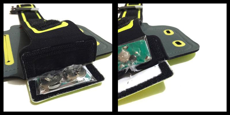 Le brassard Wowow Smartphone Band 3.0 : partie alimentation et électronique. Ph. Moctar KANE.