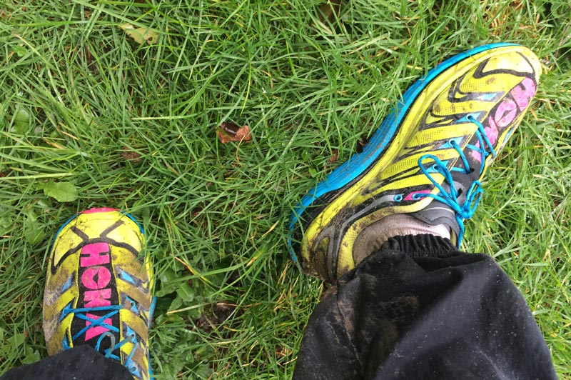 Les chaussures de running trail Hoka One One Speedgoat, après une course, 2016, Ph. Moctar KANE.