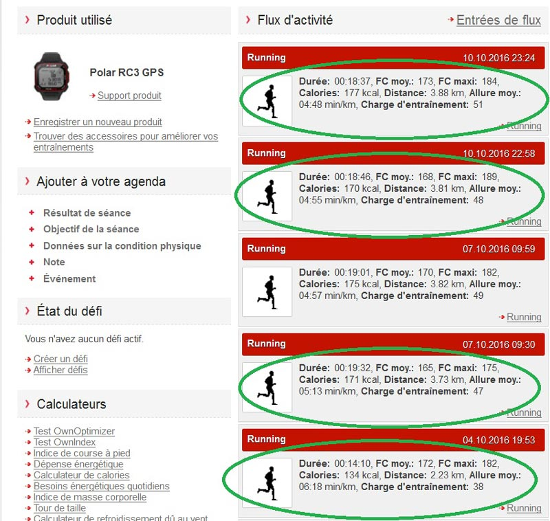 Données des mêmes courses enregistrées par la montre cardio GPS Polar RC3 GPS que celles calculées par les Samsung IconX.