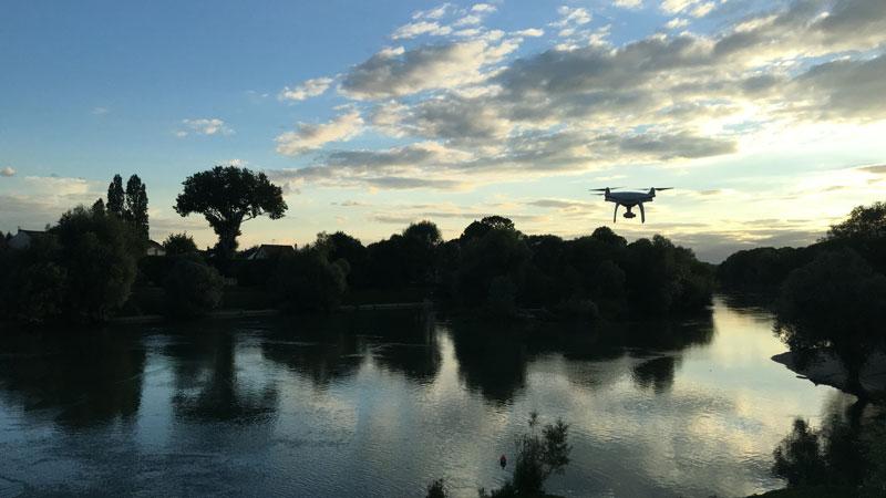 Le drone DJII Phantom 4 au-dessus de la Marne, 2016, Ph. Moctar KANE.