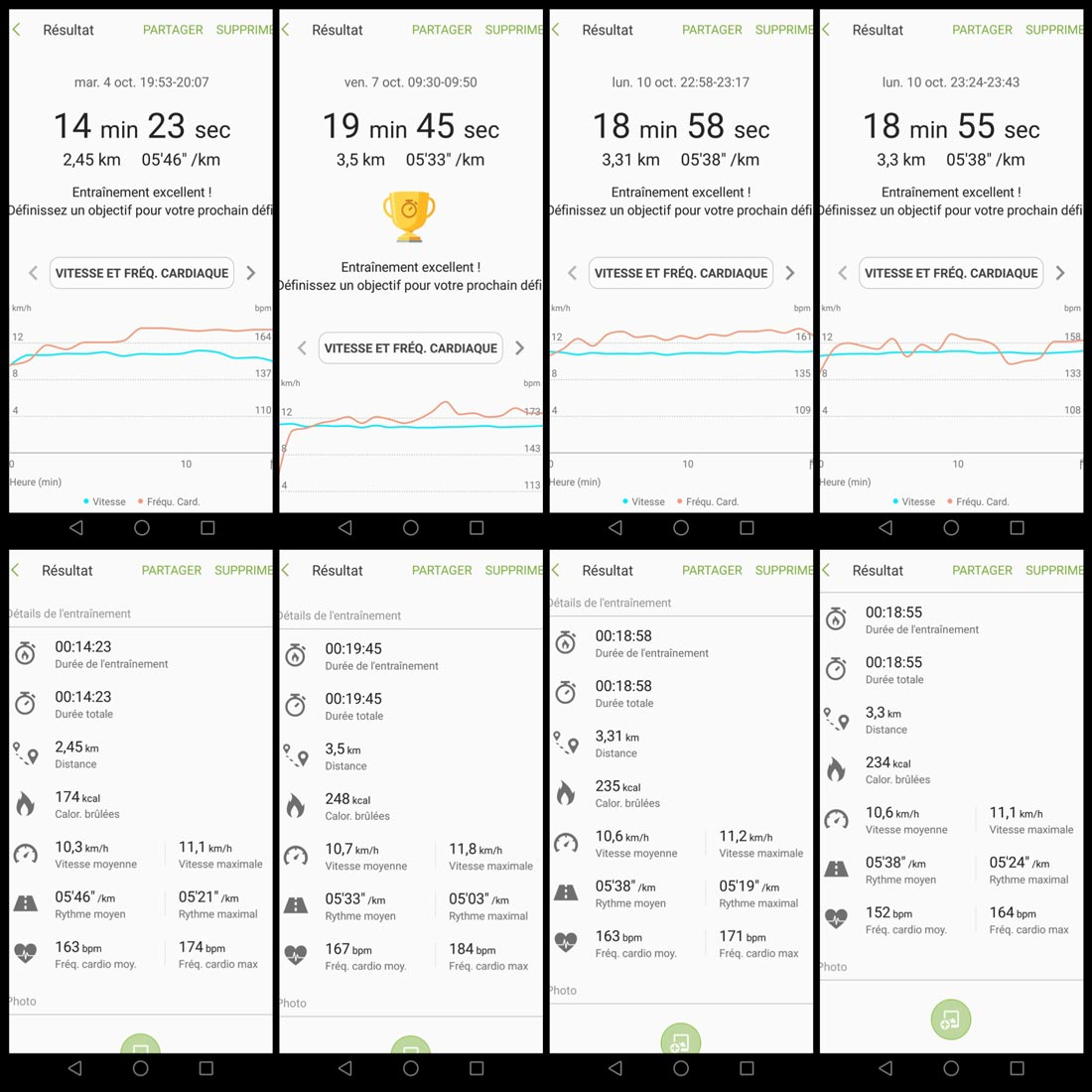 Intras de sport Samsung IconX : captures d'écrans des données de courses enregistrées par S Health.