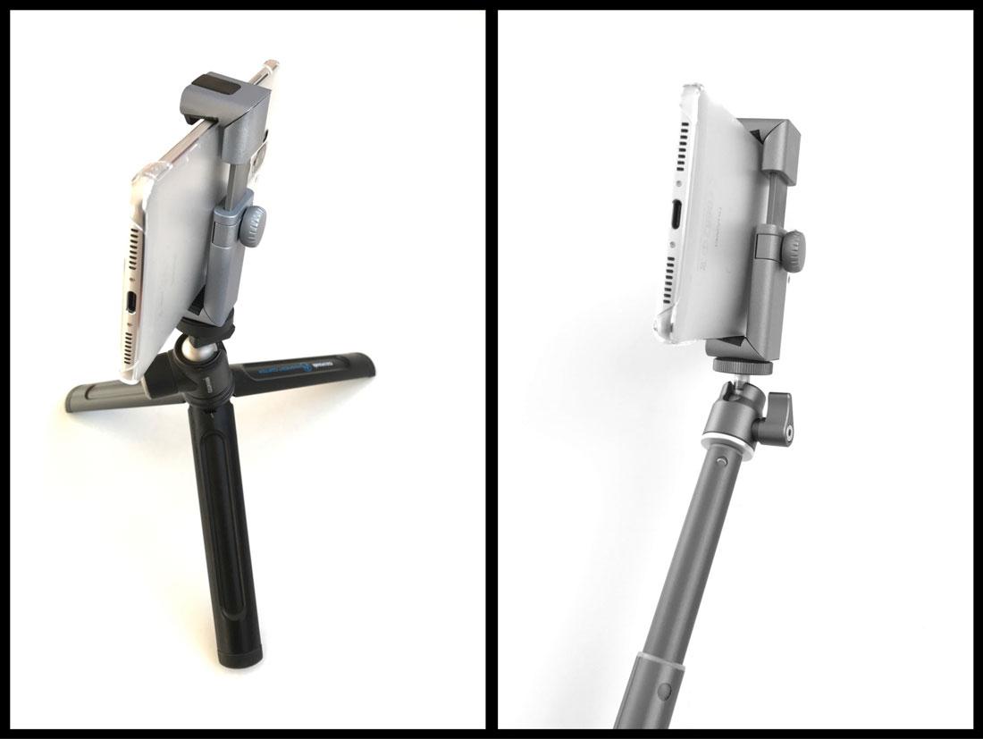 La pince Manfrotto TwistGrip pour smartphone sur trépied et perche selfie, 2017, Ph. Moctar KANE.