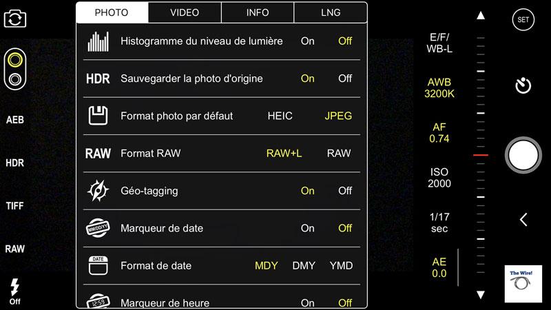 L'app ProCam permet de choisir le format d'enregistrement des photos, HEIC ou Jpeg.