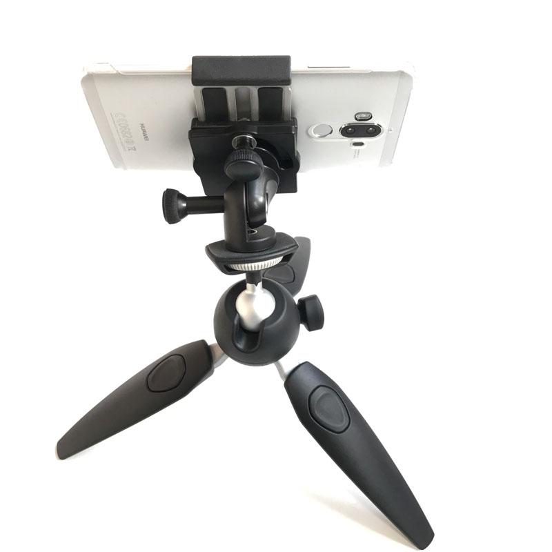 Support Joby GripTight PRO Phone avec le trépied Manfrotto Pixi Evo et soutenant le smartphone Huawei Mate 9, 2017, Ph. Moctar KANE.