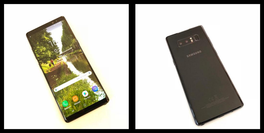Le smartphone Samsung Galaxy Note8 à deux capteurs optiques à l'arrière, 2017, Ph. Moctar KANE.