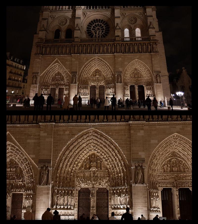 Photo de Notre-Dame de Paris prise avec le Samsung Galaxy S9+ et son agrandissement, 03 2018, Ph. Moctar KANE.
