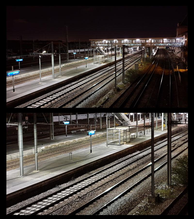 Photo de la gare de Pantin prise avec le Samsung Galaxy S9+ et son agrandissement, 03 2018, Ph. Moctar KANE.