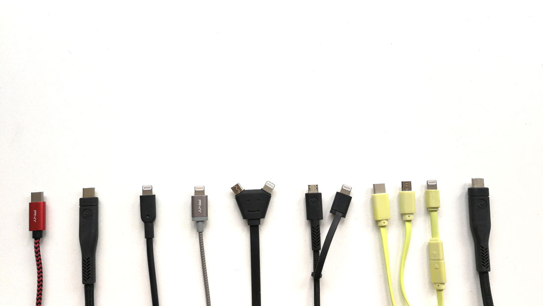 Les câbles USB PNY Braided Cable USB-A to USB-C, mophie Pro cable USB-C to USB-C, Anker PowerLine II, PNY Grey Metallic Lightning Cable, Xoopar Y cable Home, mophie Pro switch-tip cable, Xoopar Octopus et mophie Pro cable USB-C to USB-C, 2018, Ph. Moctar KANE.