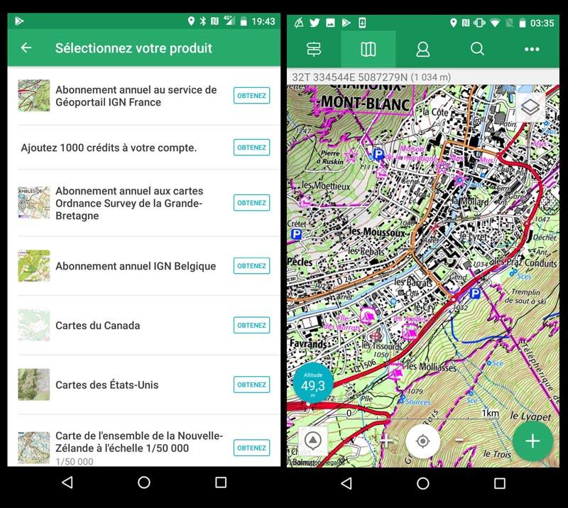 Captures d'écran de l'appli View Ranger d'où il est possible d'activer un service de cartographie.