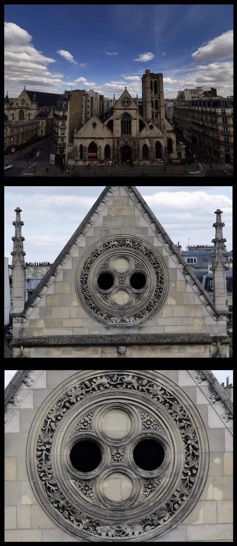 Église Saint-Nicholas-des-Champs, aux zooms 0,6x, 5x et 10x du Huawei P20 Pro, Paris, 2019, Ph. Moctar KANE.