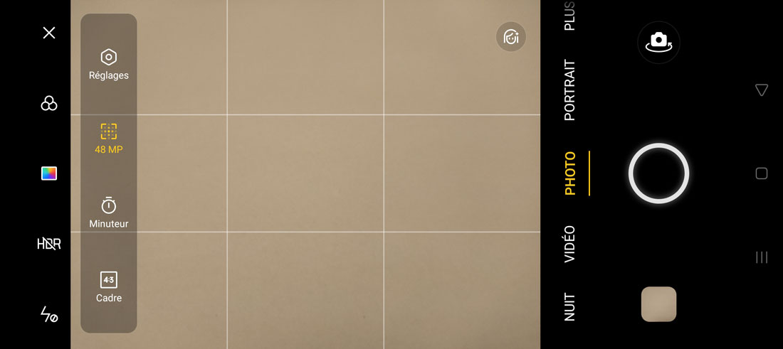 Capture d'écran de l'appli interne photo de l'Oppo Reno4 Pro avec l'option 48 MP activée.