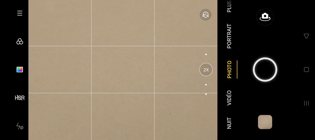 Capture d'écran de l'appli interne photo de l'Oppo Reno4 Pro avec le zoom 2X numérique.