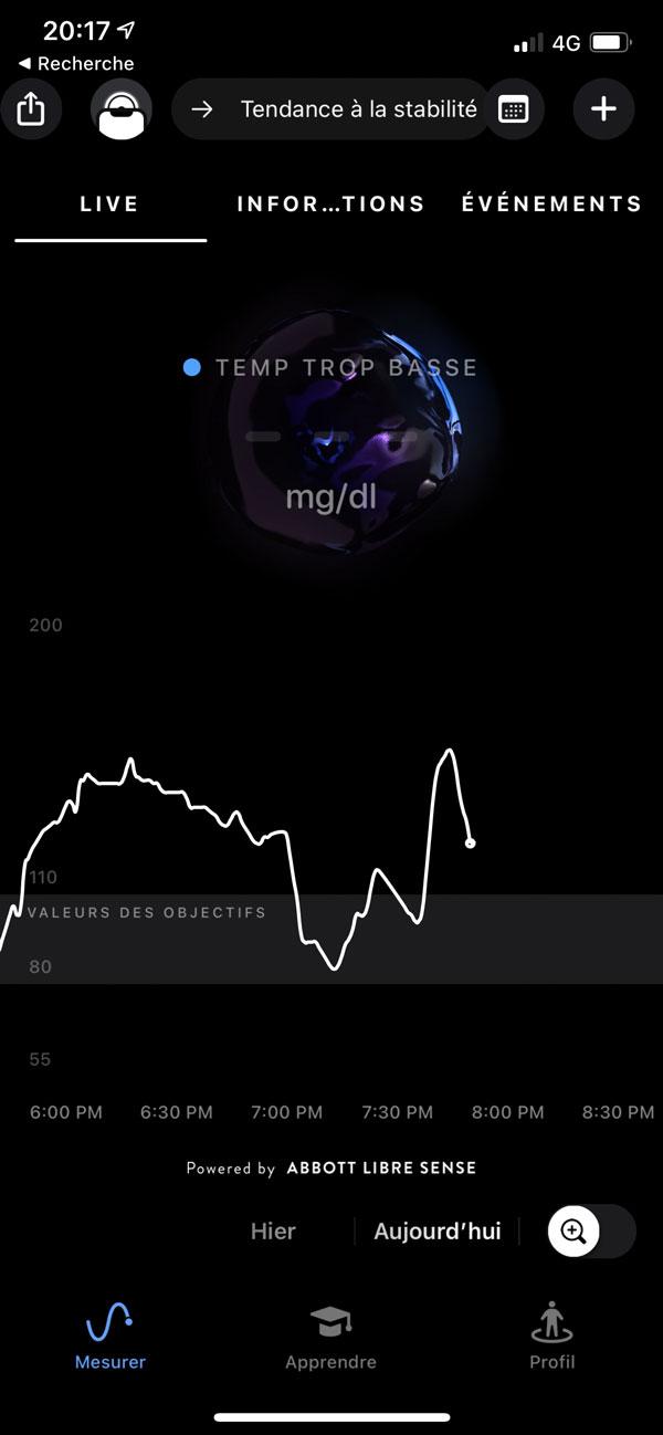 Capture d'écran de l'application Supersapiens indiquant une température trop baisse pour le capteur Abbott Libre Sense.