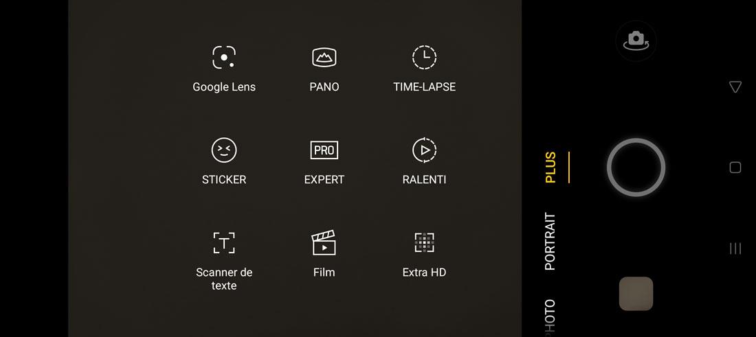 Capture d'écran de l'appli interne photo de l'Oppo Reno4 Pro avec ses différents modes de captures.